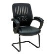 Work Smart Screen Back Over Designer Contour Shell Visitor Chair with Black Mesh Seat and Padded Arms