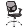 Work Smart Screen Back Task Chair with Faux Leather Seat' Adjustable Padded PU Arms' Chrome Nylon Base and Dual Wheel Carpet Casters