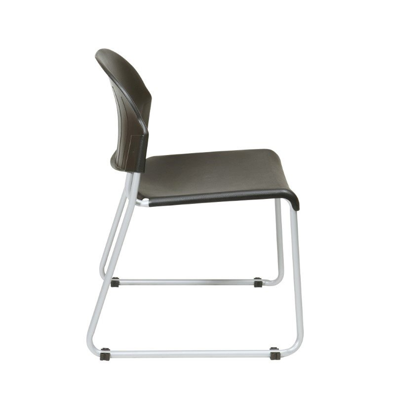 Work Smart Set of 2 Stack Chair with Plastic Seat and Back in Black