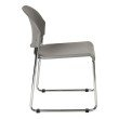 Work Smart Set of 2 Stack Chair with Plastic Seat and Back in Grey