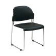 Work Smart Set of 4 Stack Chair with Plastic Seat and Back in Black