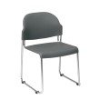 Work Smart Set of 4 Stack Chair with Plastic Seat and Back in Grey