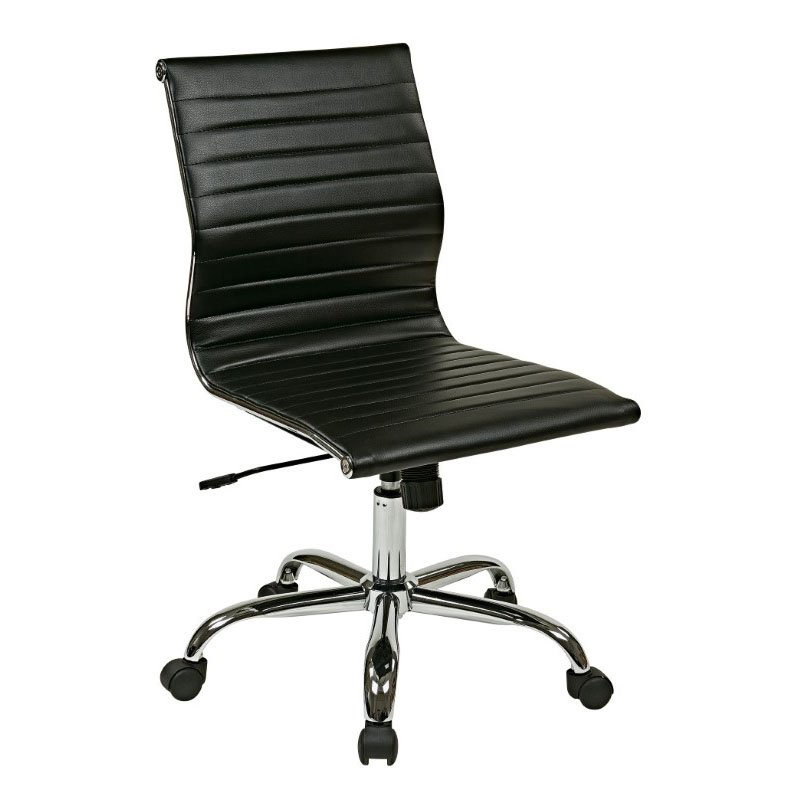 Work Smart Thick Padded Black Faux Leather Seat and Back with Built-in Lumbar Support