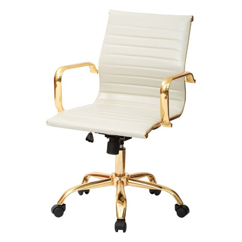 Work Smart Thick Padded Cream Faux leaether Seat and Back with Built-in Lumbar Support and Gold Finish Base and Accents