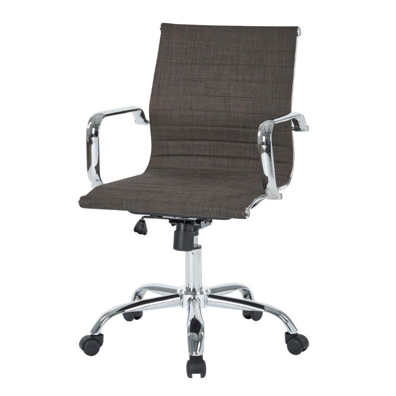 Work Smart Thick Padded Milford Asphalt Seat and Back with Built-in Lumbar Support and Chrome Finish Base and Accents