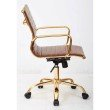 Work Smart Thick Padded Saddle Faux leaether Seat and Back with Built-in Lumbar Support and Gold Finish Base and Accents