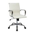 Work Smart Thick Padded White Faux Leather Seat and Back with Built-in Lumbar Support and Chrome Finish Base and Accents