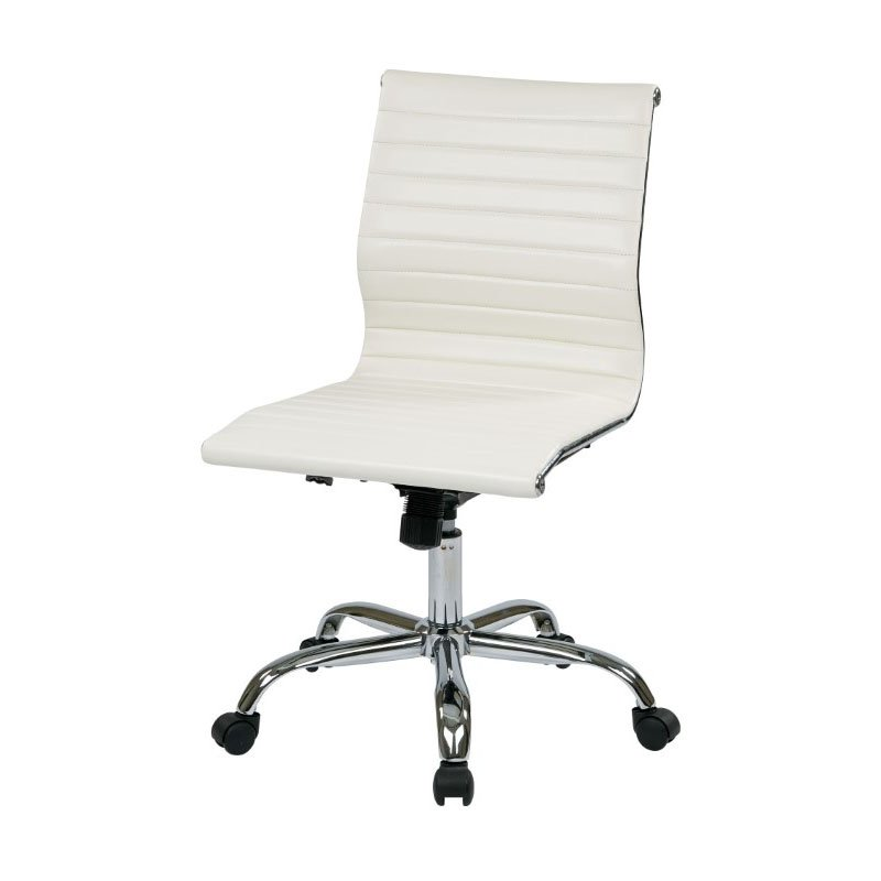 Work Smart Thick Padded White Faux Leather Seat and Back with Built-in Lumbar Support