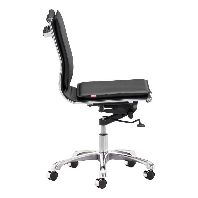 Zuo Lider Plus Modern Leatherette Armless Office Chair in Black