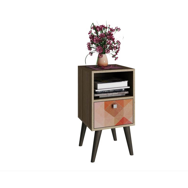 Accentuations by Manhattan Comfort Abisko Stylish Side Table with 1-Cubby and 1-Drawer in Oak and Colorful Stamp Door