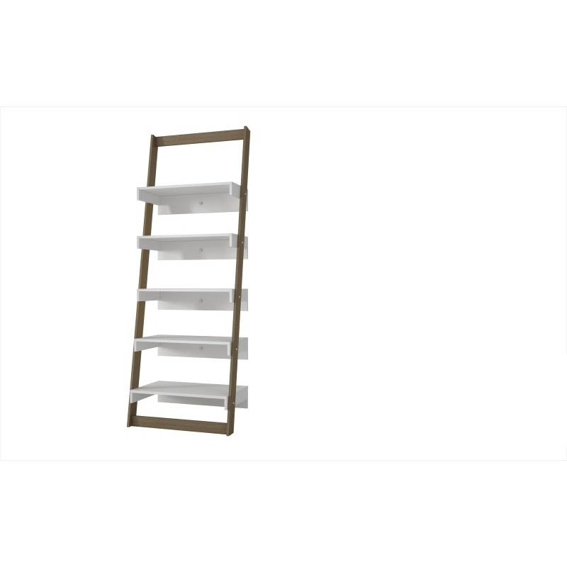 Accentuations by Manhattan Comfort Brilliant Carpina Ladder Shelf with 5-Floating-Shelves in an Oak Frame and White-Shelves