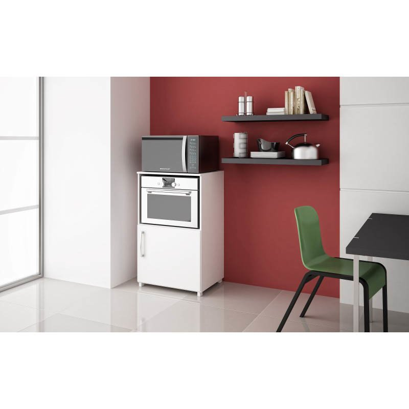 Accentuations by Manhattan Comfort Canny Tnglin Kitchen Pantry with 2-Shelves and 1 Door in White