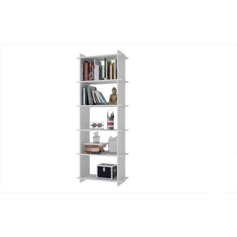 Accentuations by Manhattan Comfort Convenient Gisborne Bookcase 2.0 with 5-Shelves in White