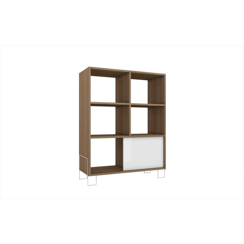 Accentuations by Manhattan Comfort Exquisite Boden Mid-High Side Stand with 6-Shelves and 1 Sliding Door in an Oak Frame and White Door and Feet