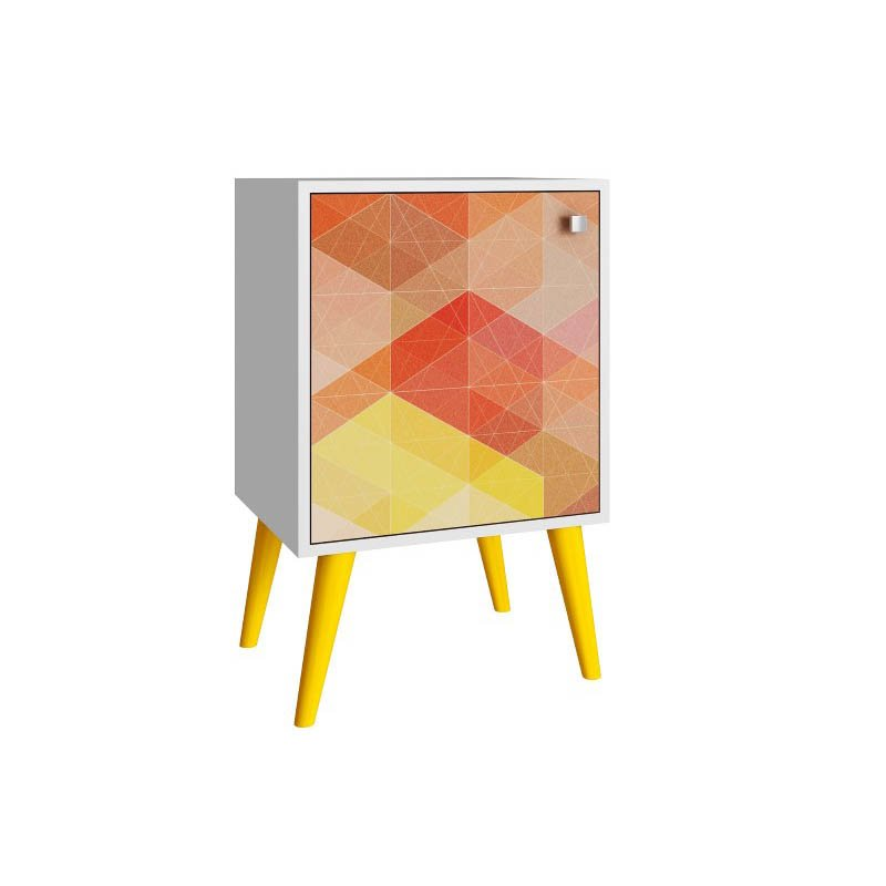 Accentuations by Manhattan Comfort Funky Avesta Side Table 1.0  with 2-Shelves in a White Frame with a Colorful Stamp Door and Yellow Feet