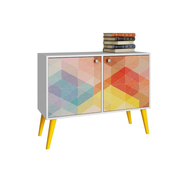 Accentuations by Manhattan Comfort Funky Avesta Side Table 2.0  with 3-Shelves in a White Frame with a Colorful Stamp Door and Yellow Feet