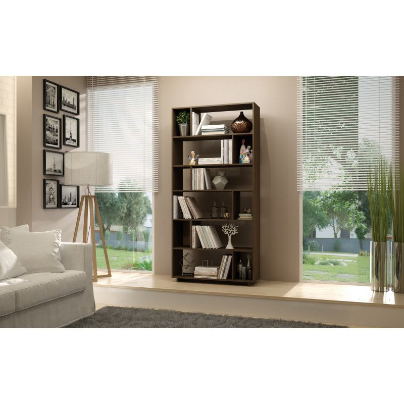 Accentuations by Manhattan Comfort Maringa 12 Shelf Bookcase in Tobacco