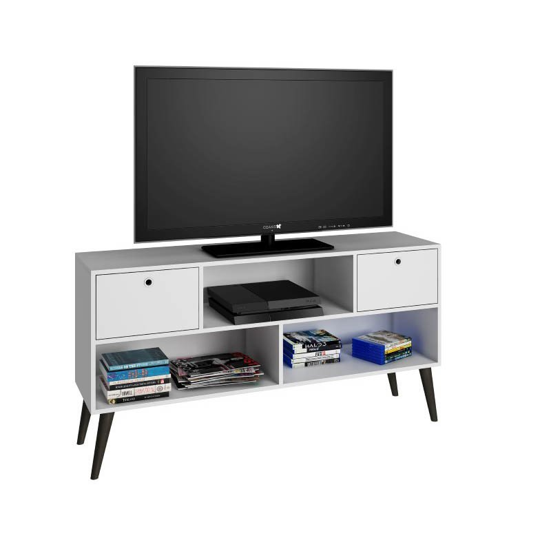 Accentuations by Manhattan Comfort Modern Uppsala TV Stand with 3-Shelves and 2-Drawers in White