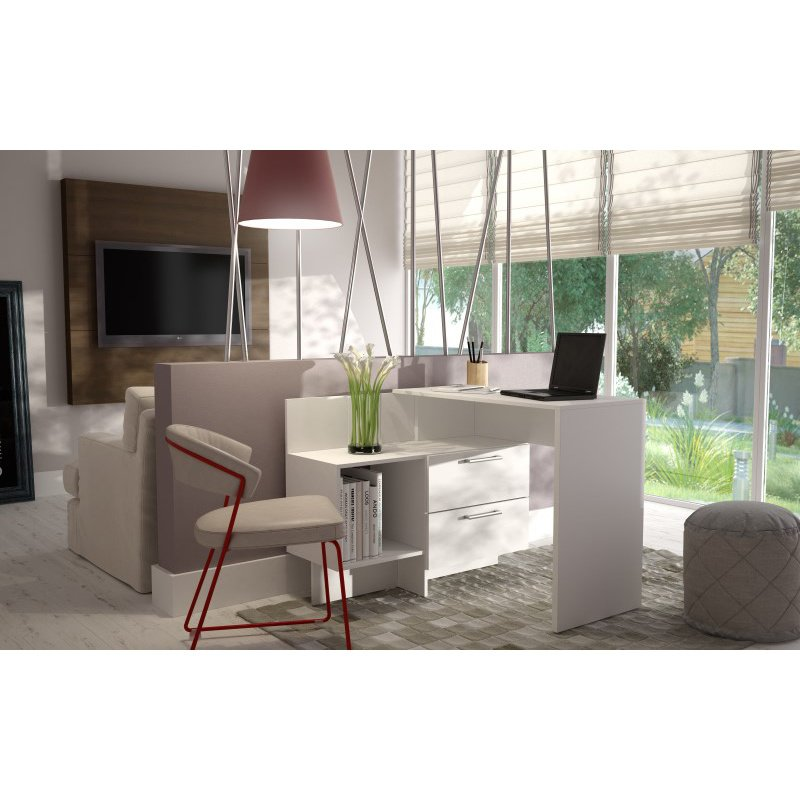 Accentuations by Manhattan Comfort Teramo Home Desk with 1 Shelves in White