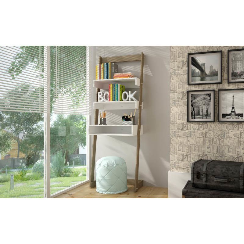 Accentuations by Manhattan Comfort Urbane Carpina Ladder Desk with 2 Floating-Shelves and 1-Tabletop and Cubby in and Oak Frame and White-Shelves