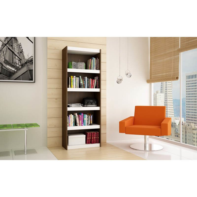 Accentuations by Manhattan Comfort Valuable Parana Bookcase 3.0 with 5-Shelves in White and Tobacco