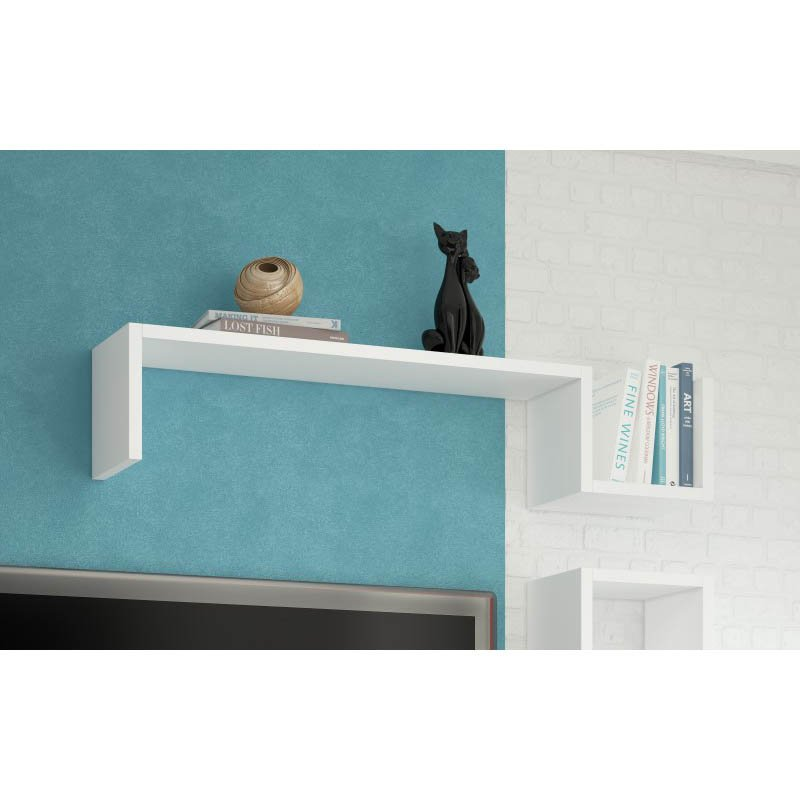 """Accentuations by Manhattan Comfort Zemmur """"S"""" Shaped Floating Wall Mount Shelf in White"""