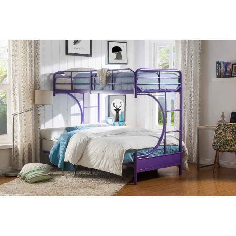 Acme Furniture Eclipse Twin Over Full Bunk Bed In Purple