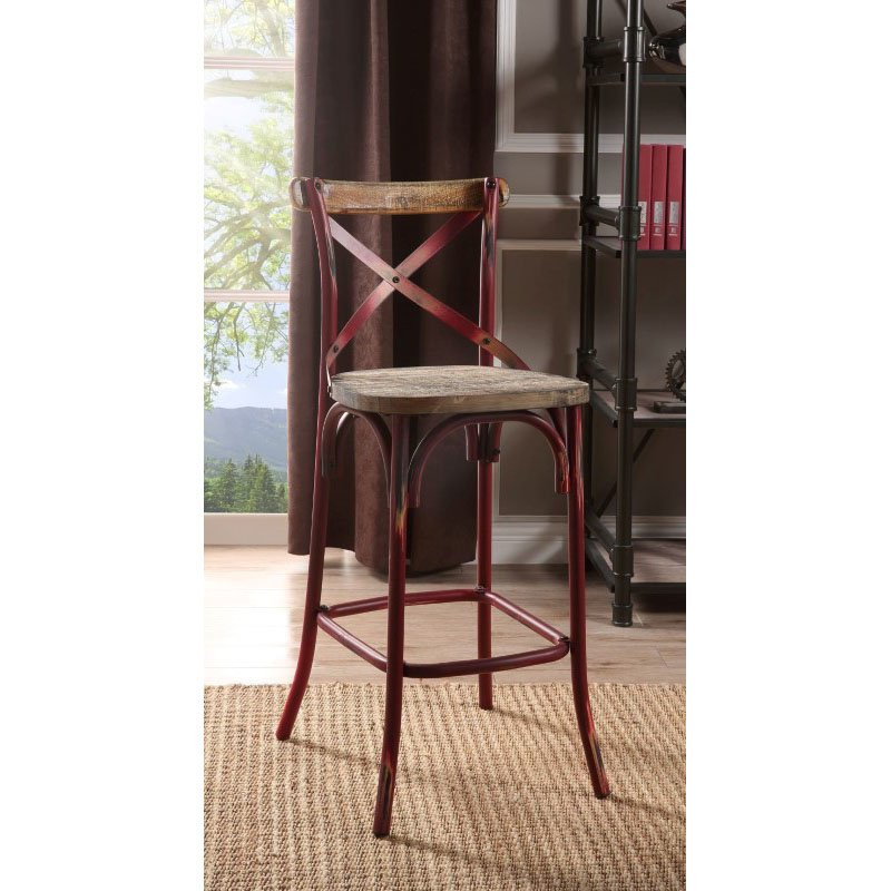 Acme Furniture Zaire Bar Chair In Antique Red 96808