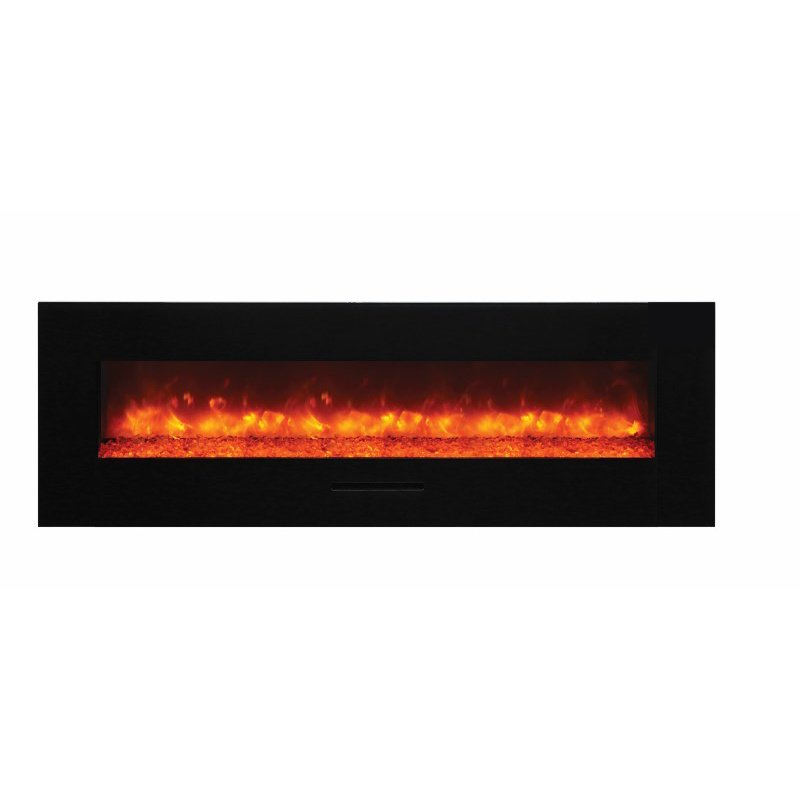 amantii 60 quot flush mount fireplace with black glass