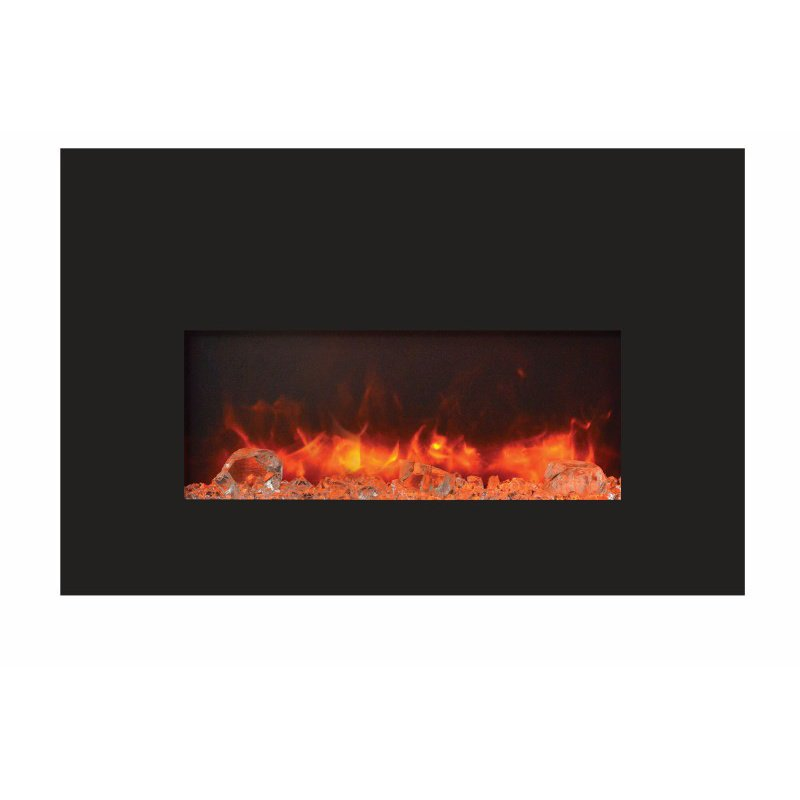 Amantii Small Insert Electric Fireplace With Black Glass