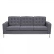 Armen Living Chandler Contemporary Sofa in Brushed Stainless Steel Finish and Dark Grey Fabric (LCCH3GR)