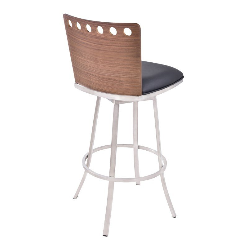 "Armen Living Coco 30"" Barstool in Brushed Steel Finish with Black and Walnut Back"