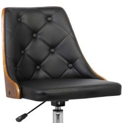 45df34e573 Armen Living Diamond Mid-Century Office Chair in Chrome finish with Tufted Black  Faux Leather