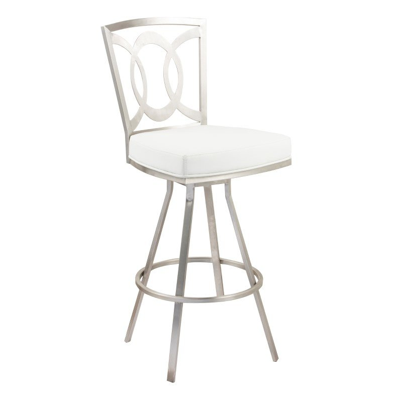 "Armen Living Drake 26"" Contemporary Swivel Barstool In White and Stainless Steel (LCDR26SWBAWHB201)"