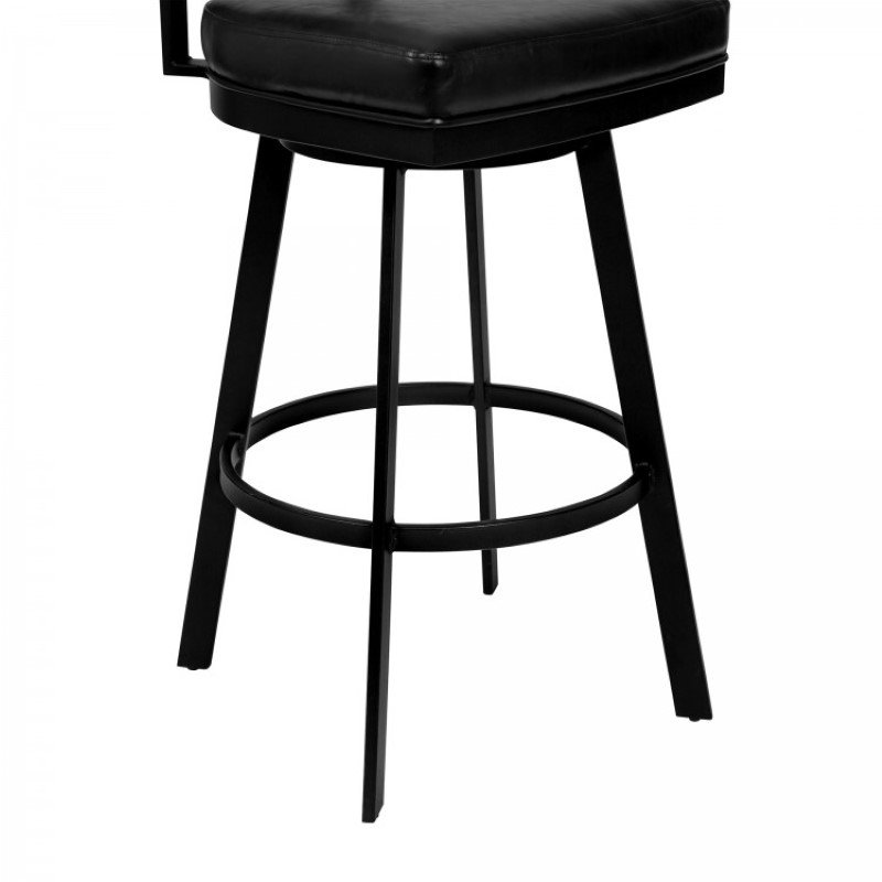 "Armen Living Frisco 26"" Counter Height Barstool in Matte Black Finish with Black Faux Leather and Grey Walnut (LCFRBAGWVB26)"