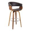 "Armen Living Julyssa 26"" Mid-Century Swivel Counter Height Barstool in Brown Faux Leather with Walnut Wood (LCJSBAWABR26)"