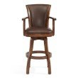 "Armen Living Raleigh Arm 26"" Counter Height Swivel Wood Barstool in Chestnut Finish and Kahlua Faux Leather (LCRABAARKACH26)"
