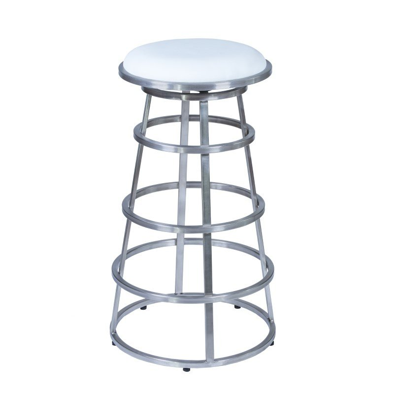 """Armen Living Ringo 26"""" Barstool in Brushed Stainless Steel Finish with White"""
