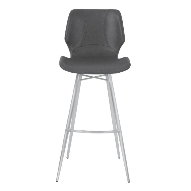 """Armen Living Zurich 26"""" Counter Height Metal Barstool in Vintage Gray Faux Leather with Brushed Stainless Steel Finish (LCZUBAVGBS26)"""