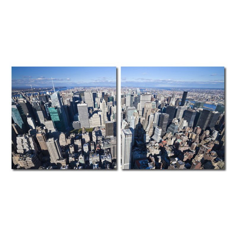 Baxton Studio Aerial Manhattan Mounted Photography Print Diptych