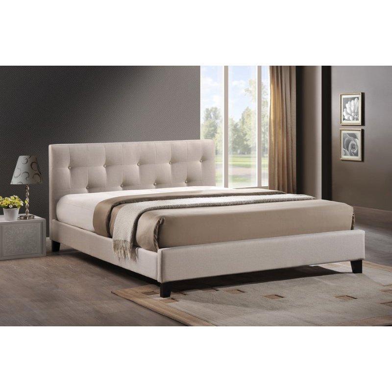 Baxton Studio Annette Light Beige Linen Modern Bed with Upholstered Headboard in Full Size