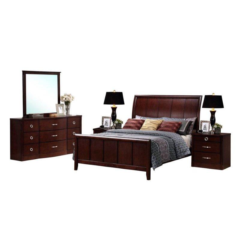 Baxton Studio Argonne King 5 Piece Wooden Modern Bedroom Set