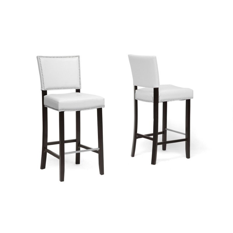 Baxton Studio Aries White Modern Bar Stool with Nail Head Trim (Set of 2)