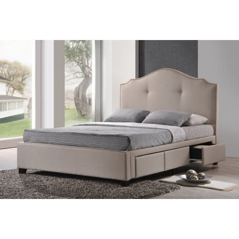 Baxton Studio Armeena Beige Linen Modern Storage Bed with Upholstered Headboard in King Size