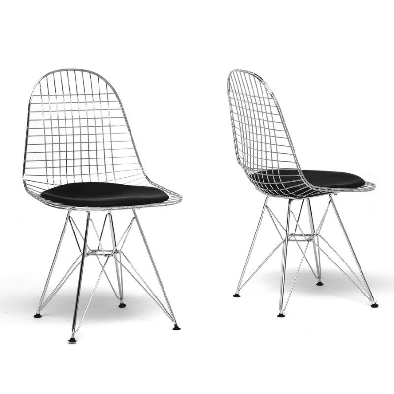 Baxton Studio Avery MidinCentury Modern Wire Chair with Black Cushion (Set of 2)