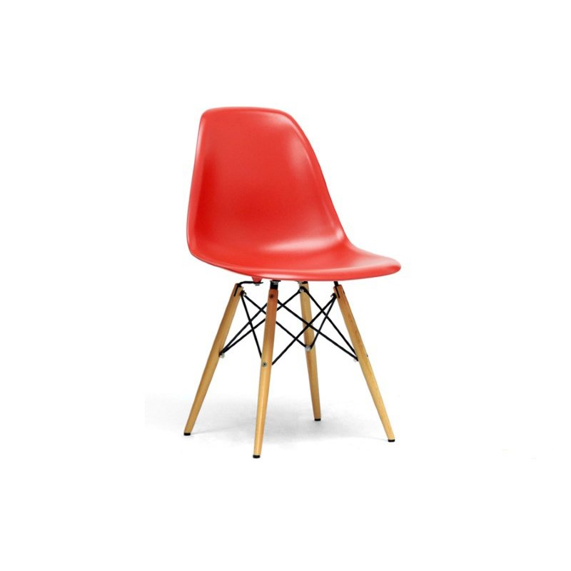 Baxton Studio Azzo Red Plastic MidinCentury Modern Shell Chair (Set of 2)