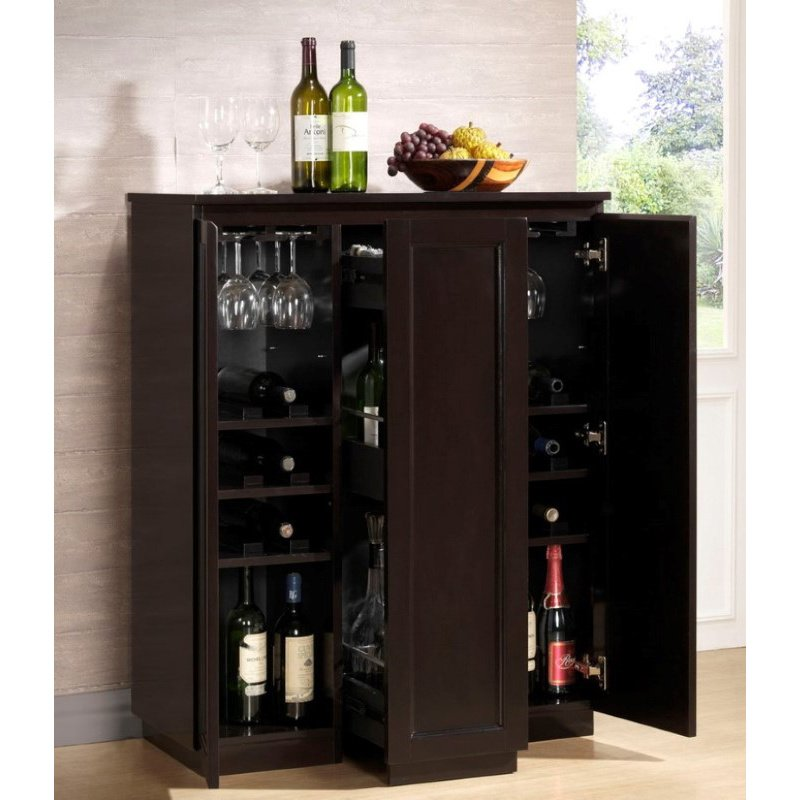 Baxton Studio Baltimore Dark Brown Modern Bar Cabinet