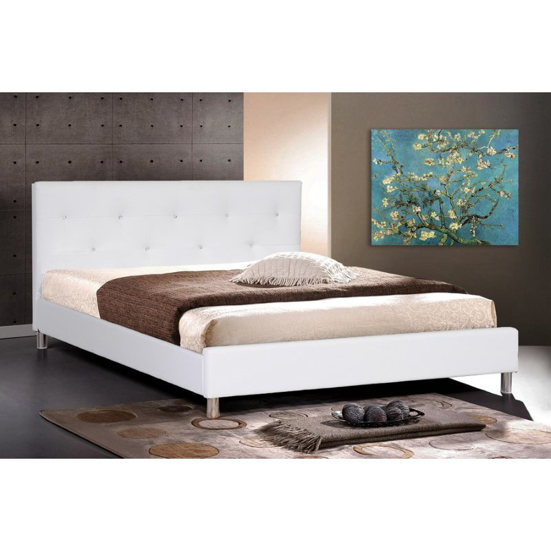 Baxton Studio Barbara White Modern Bed with Crystal Button Tufting in Full Size