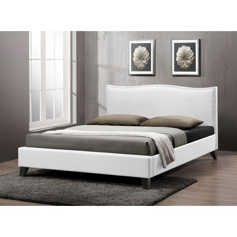 Baxton Studio Battersby White Modern Bed with Upholstered Headboard in Queen Size