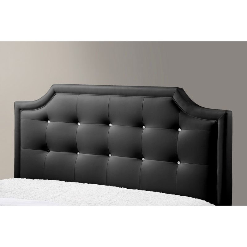 Baxton Studio Carlotta Black Modern Bed with Upholstered Headboard in Queen Size